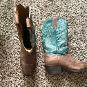 Green and brown cowgirl boots